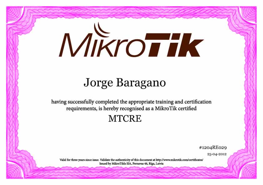 MikroTik MTCRA Certification